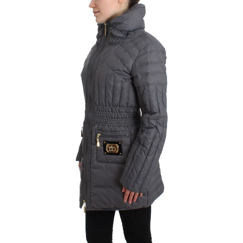 Gray Padded Down Jacket Padded Coat Roccobarocco