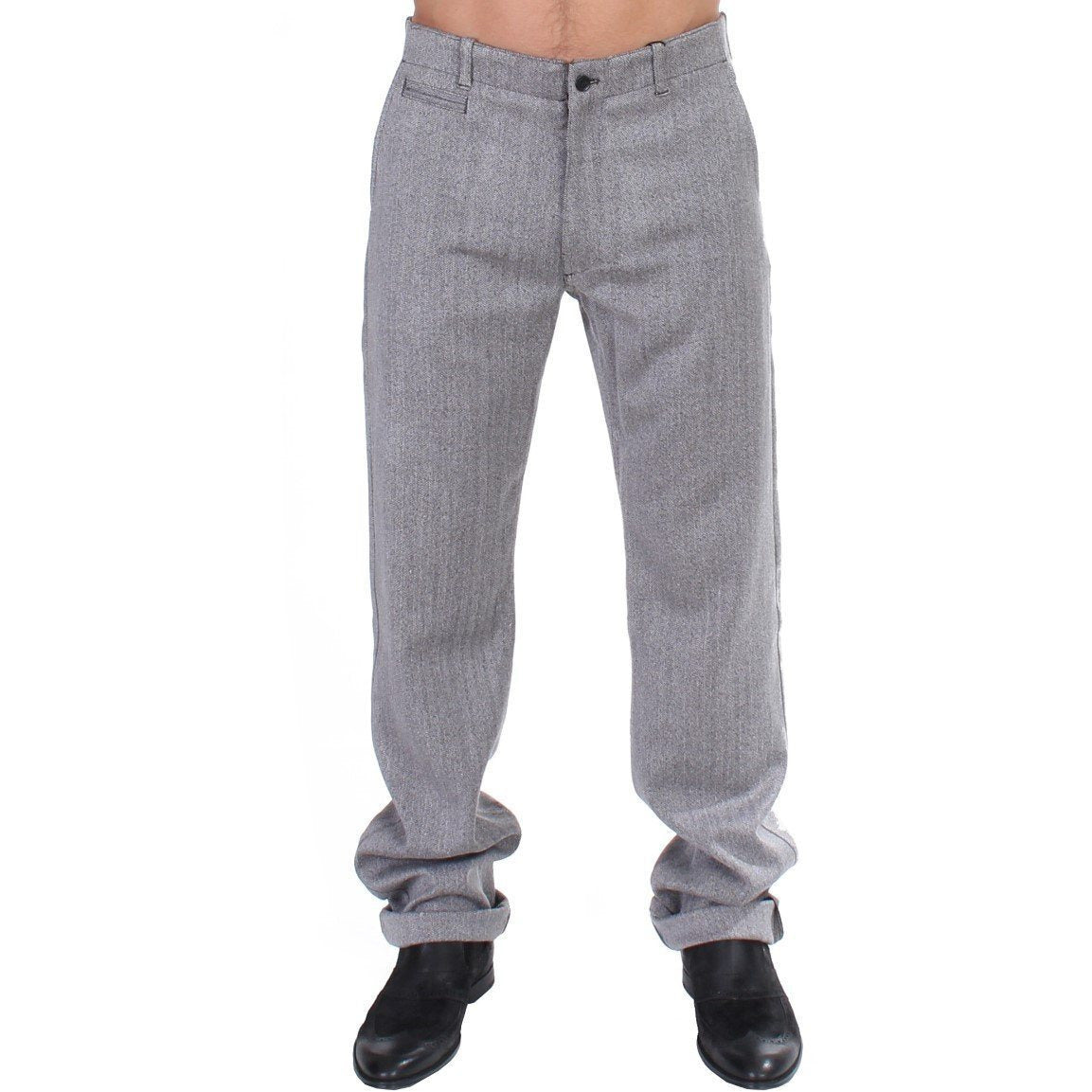 Gray Stretch Regular Straight Fit Pants GF Ferre
