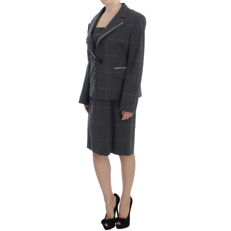 Gray Stretch Sheath Dress Suit Set BENCIVENGA