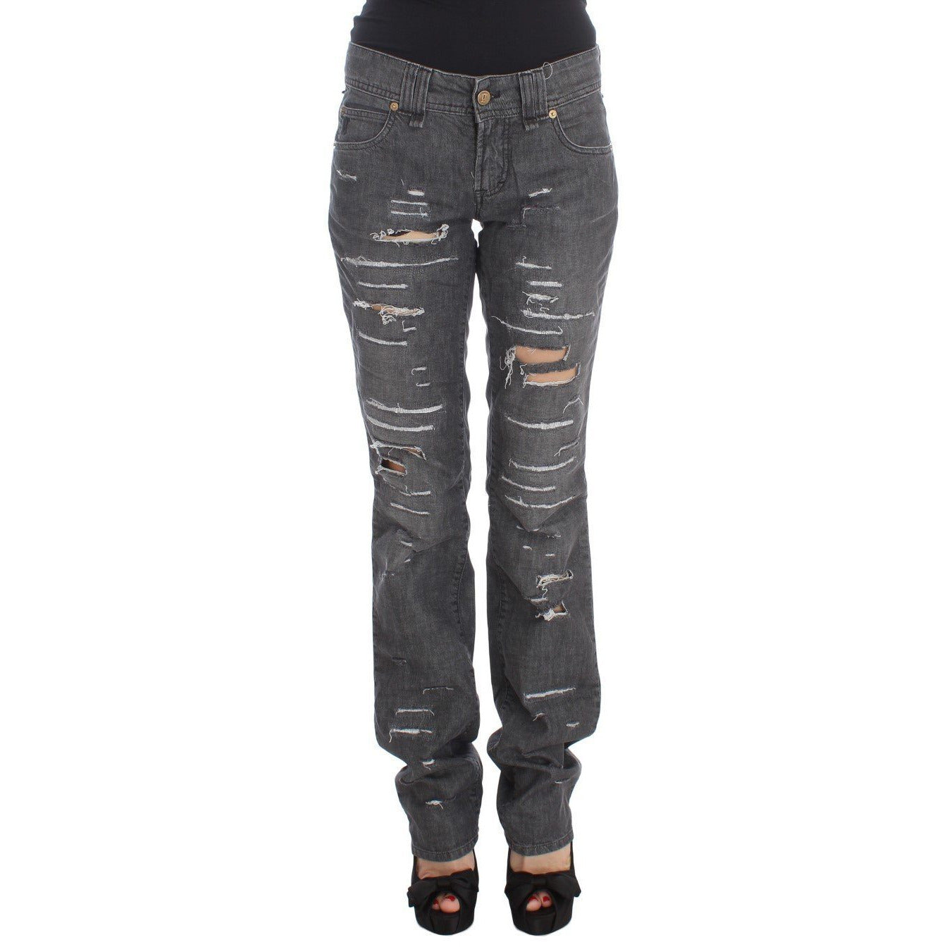 Gray Wash Cotton Torn Straight Fit Jeans Galliano