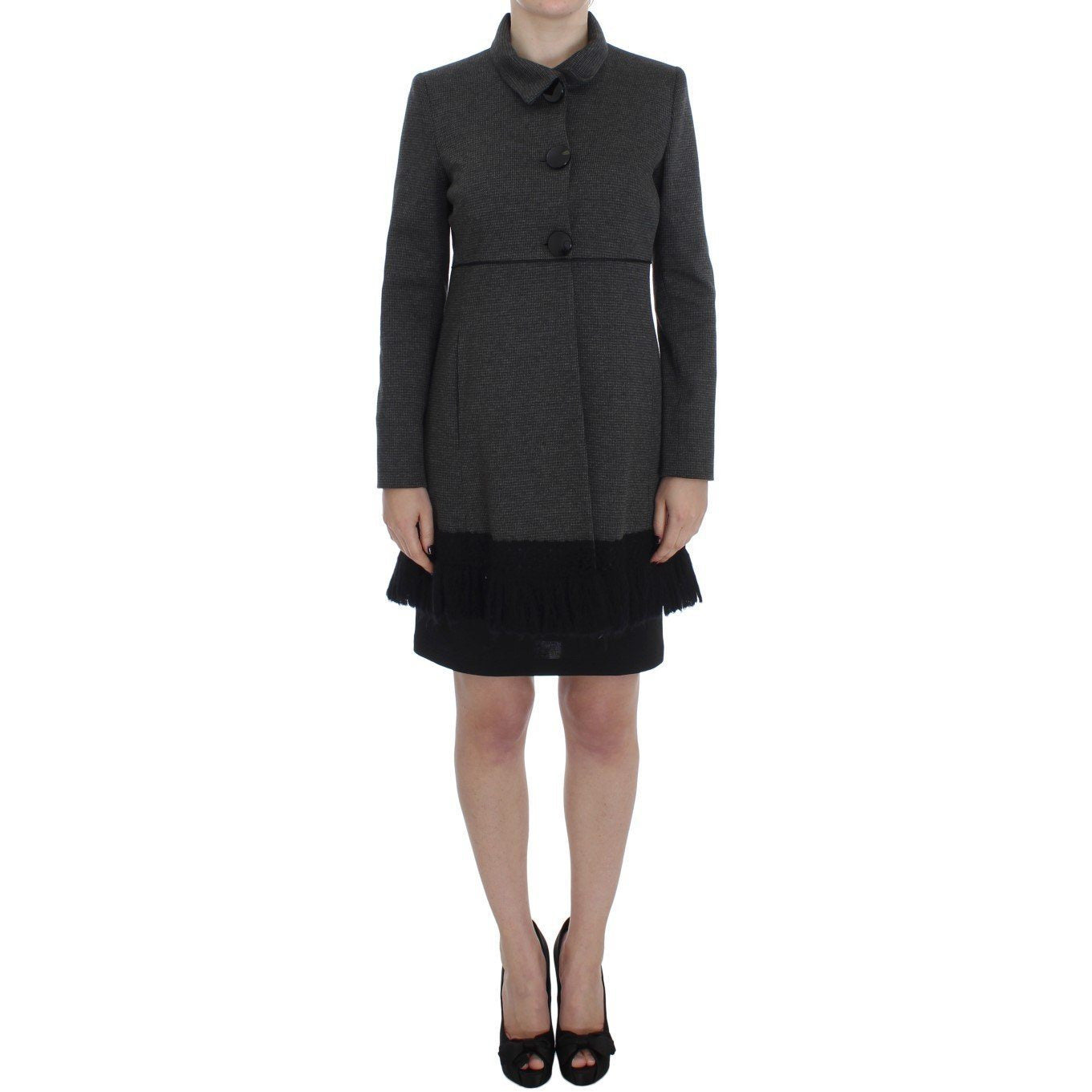 Gray Wool Button Collar Coat Jacket BENCIVENGA