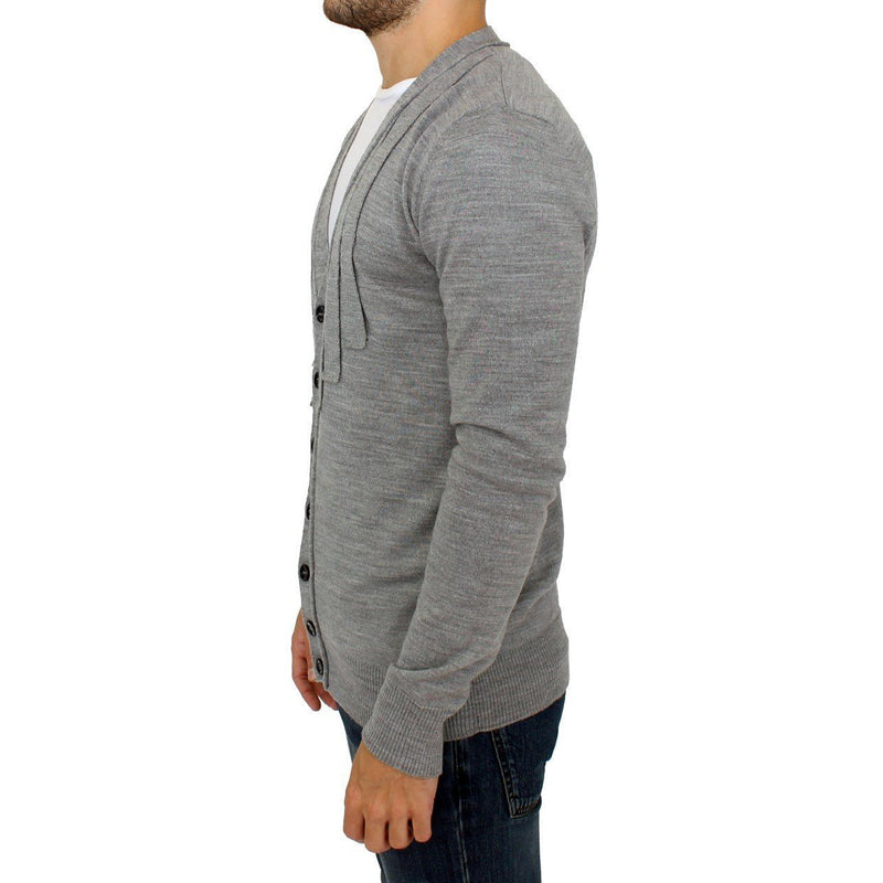 Gray wool cardigan sweater Karl Lagerfeld