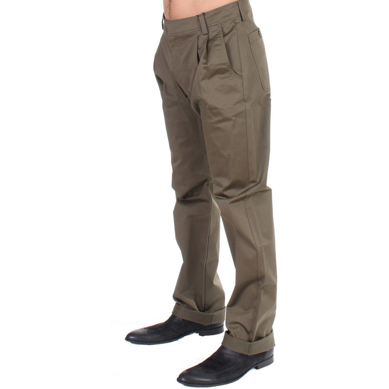 Green Cotton Stretch Comfort Fit Pants GF Ferre