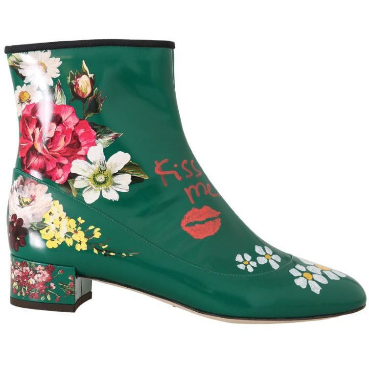 Green Leather Floral Ankle Boots Dolce & Gabbana