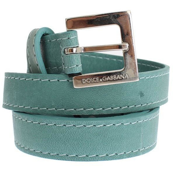 Green Leather Silver Buckle Logo Belt Dolce & Gabbana