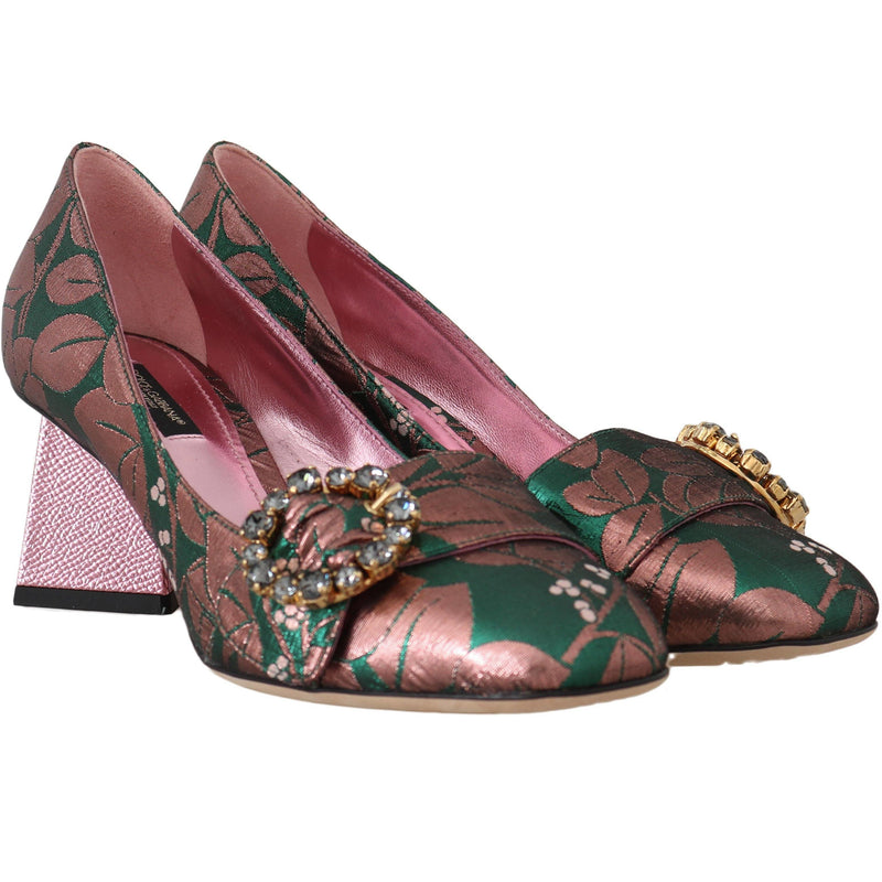 Green Shiny Floral Crystal Pumps Dolce & Gabbana