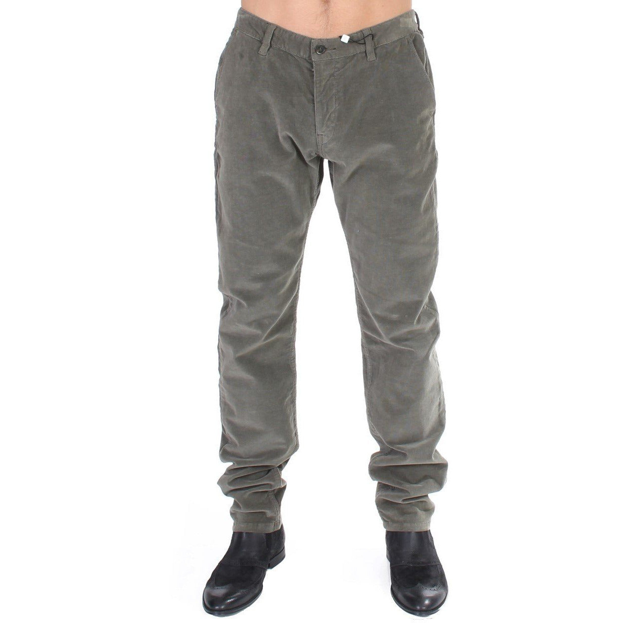 Green Stretch Straight Fit Corduroy Pants GF Ferre