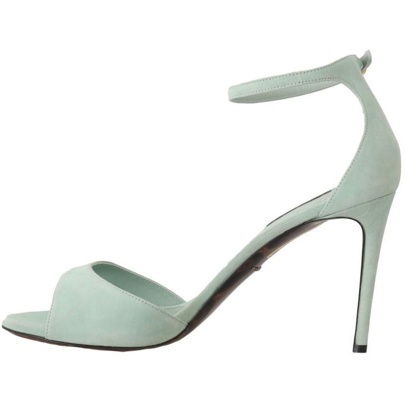 Green Suede Leather Heels Sandal Dolce & Gabbana