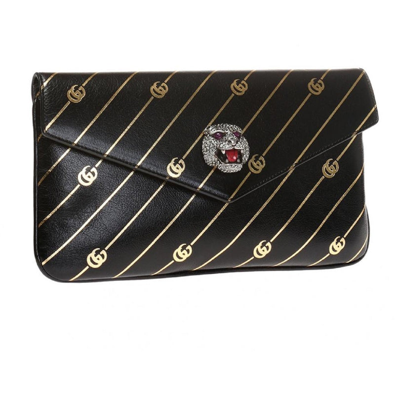 Gucci Black Broadway Animalier GG Archive Leather Envelope Clutch Handbag Bag 525008