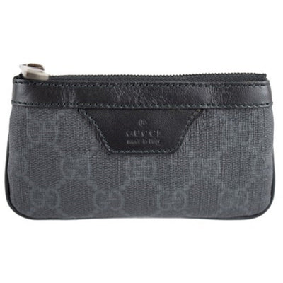 Gucci Black/Gray 377922 Leather GG Supreme Zip Change Coin Purse Wallet Key Chain Keychains Gucci