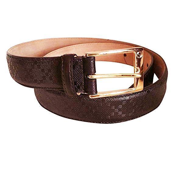 Gucci Brown Diamante Belt with Silver Square Buckle Belt 110-44 345658