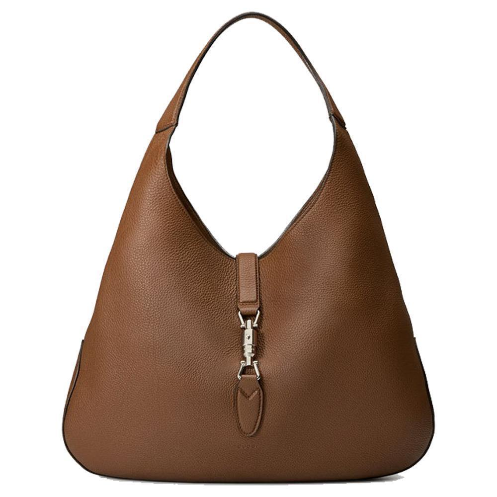 Gucci Brown Jackie Soft Pebbled Leather Brown Hobo Large Handbag 362968