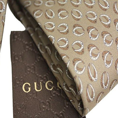 Gucci Classic Henning Horseshoe Patterned Beige Twill Necktie for Men 323829