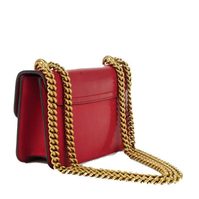 Gucci Classic Women's Red Bow Pearl Leather Chain Shoulder Bag 432281