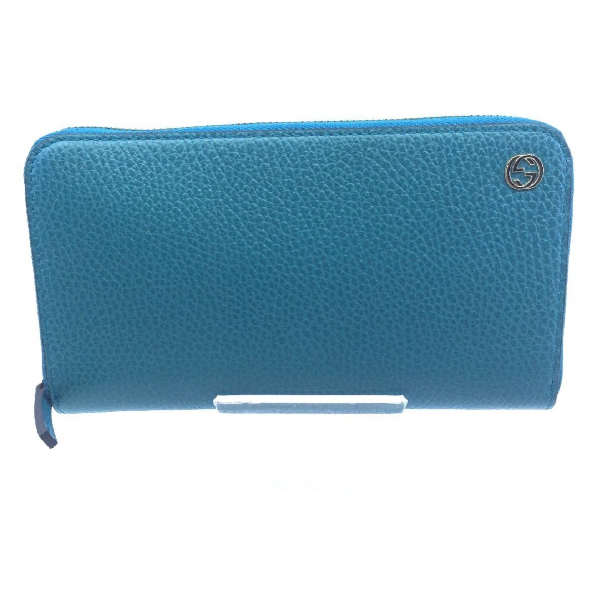Gucci Cobalt Blue Teal Pebbled Leather Zip Around Wallet GG Charm Logo 449347