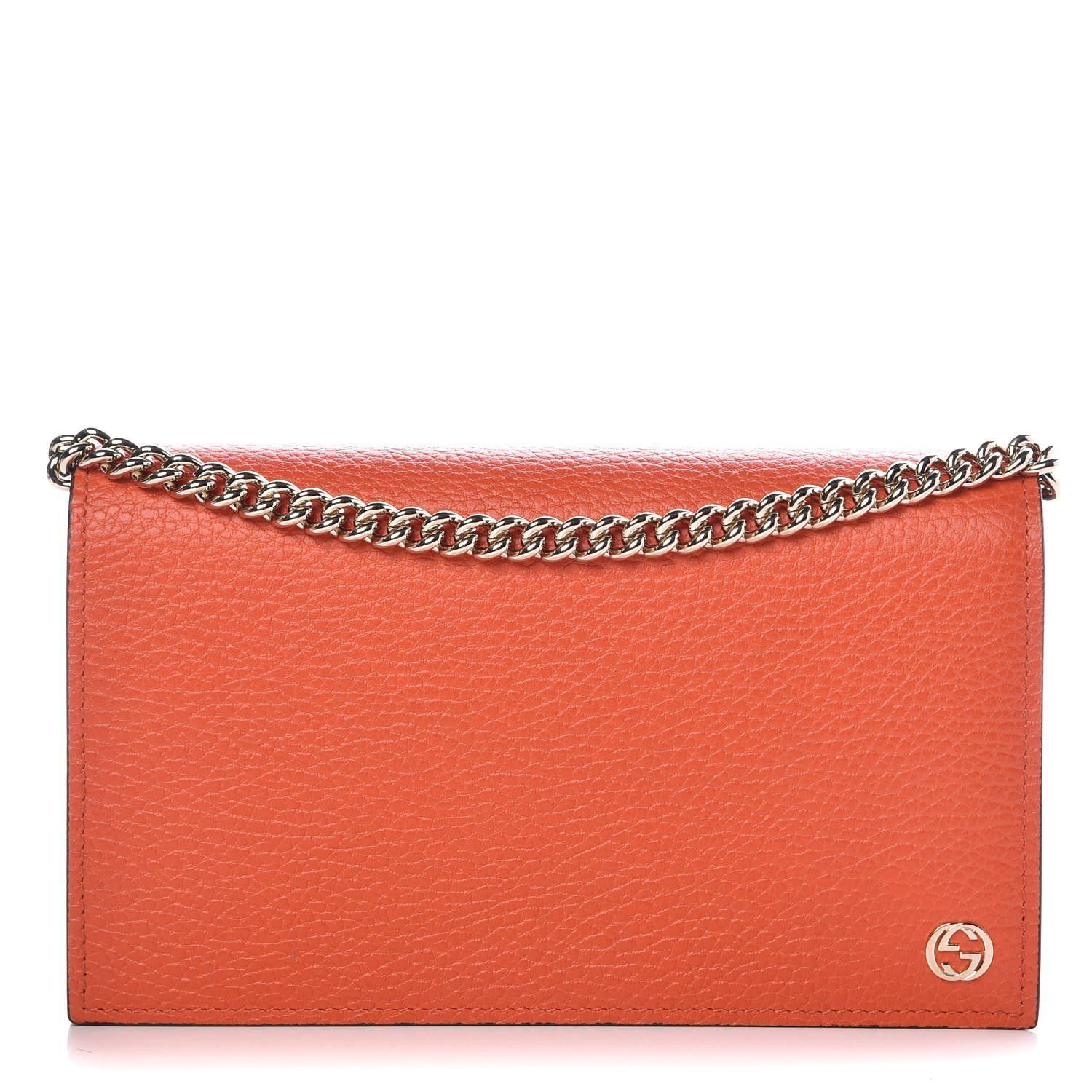 Gucci Dollar Orange Pebbled Leather Wallet Chain Purse Handbag 466506