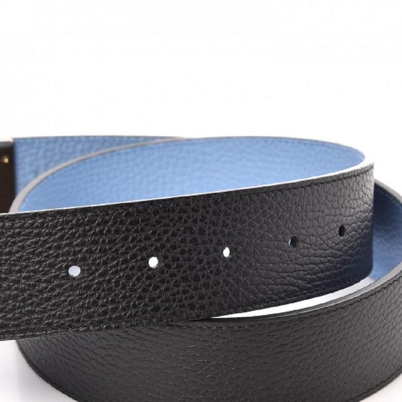 Gucci GG Dollar Calf Leather Nero Black/ Mineral Blue Reversible Belt Size 85/34 450000