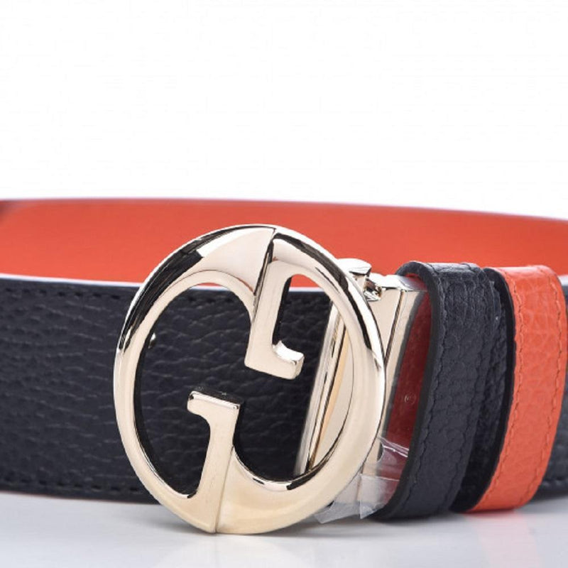 Gucci GG Dollar Calf Leather Nero Black/ Sun Orange Reversible Belt Size 100/40 450000