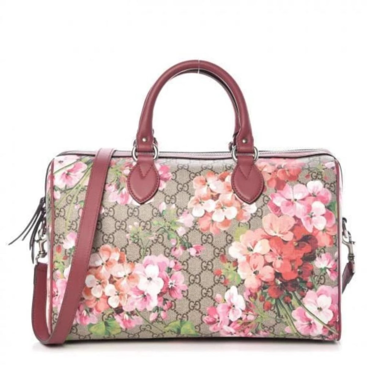 GUCCI GG Supreme Monogram Blooms Large Top Handle Boston Bag Rose 409527