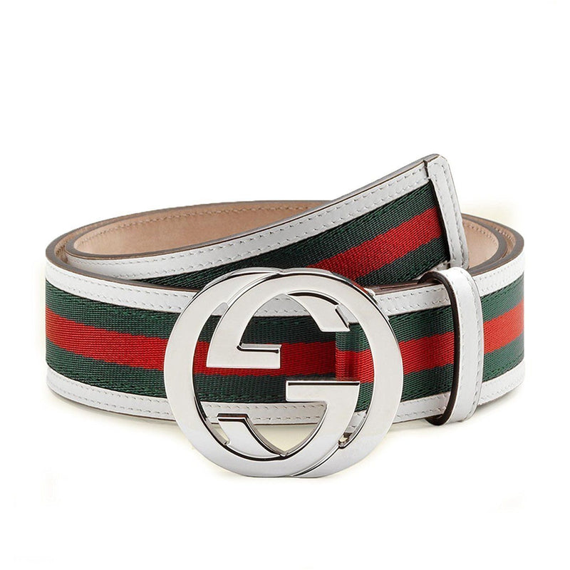 Gucci GG Web Leather Belt with Interlocking G Buckle 114984 8624 (white) (42) Belts Gucci Default Title