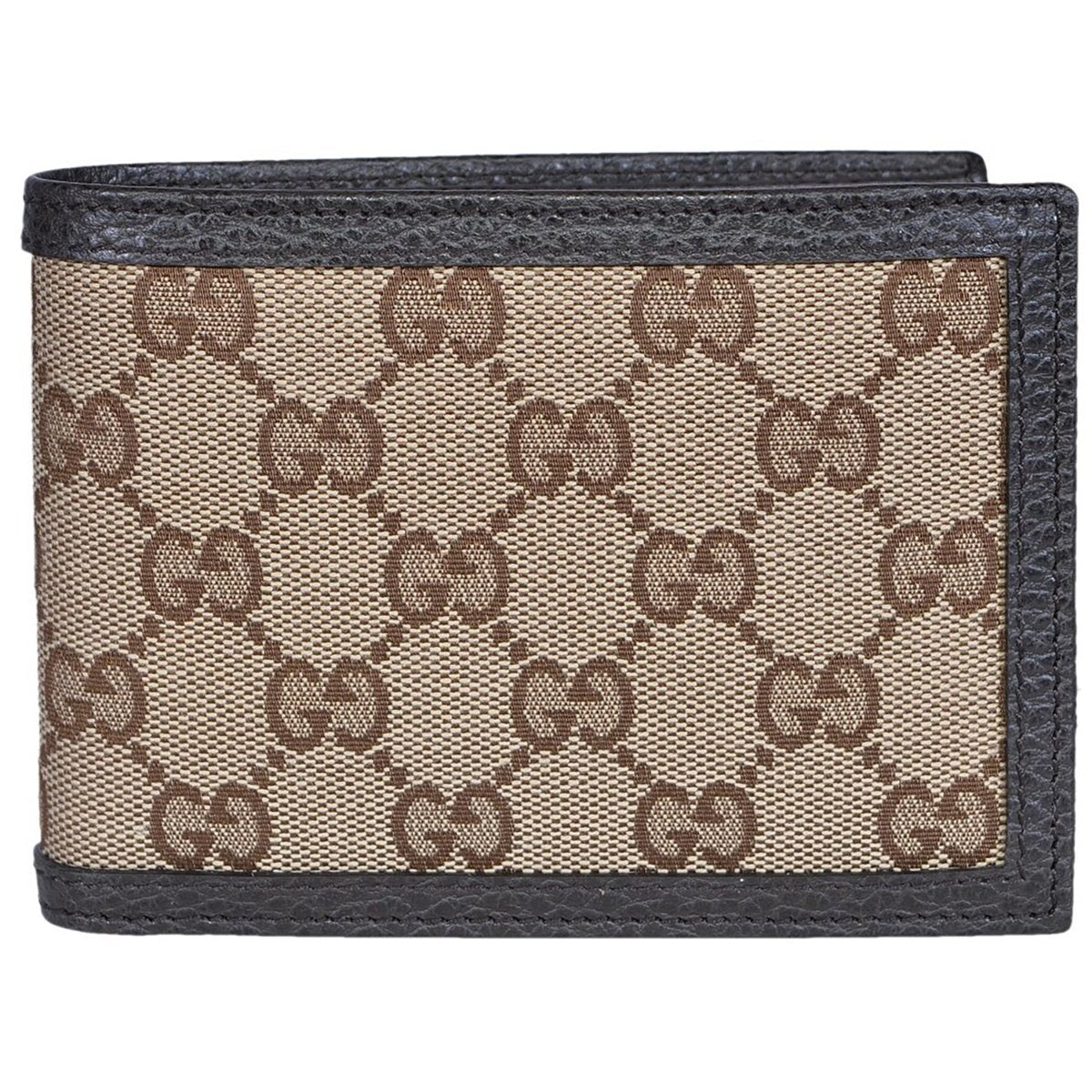 Gucci Men's Original GG Logo Canvas Web Brown Leather Bi-fold Wallet 278596