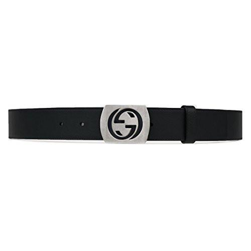 Gucci Men's Black Leather Belt with Silver Oxidized Metal GG Logo 387031 Size: 100/40 Belts Gucci