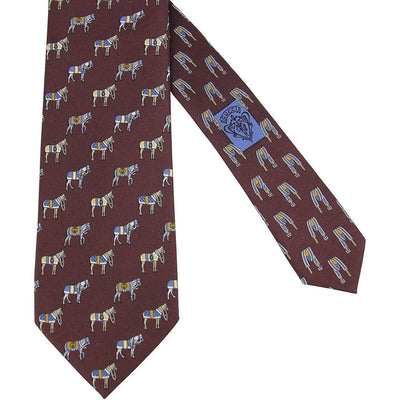 Gucci Men's Horse And Belt Print Dark Red Silk Tie 388148 6069 Neckties Gucci