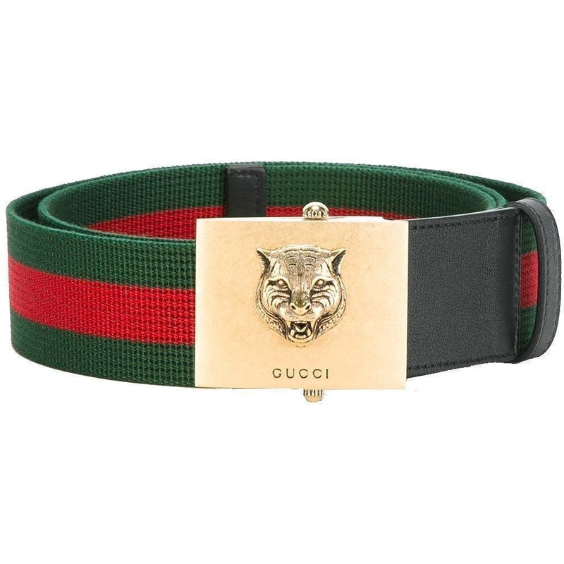 Gucci Men's Lion Buckle Web Stripe Belt 437498 Size: 90/36 Belts Gucci