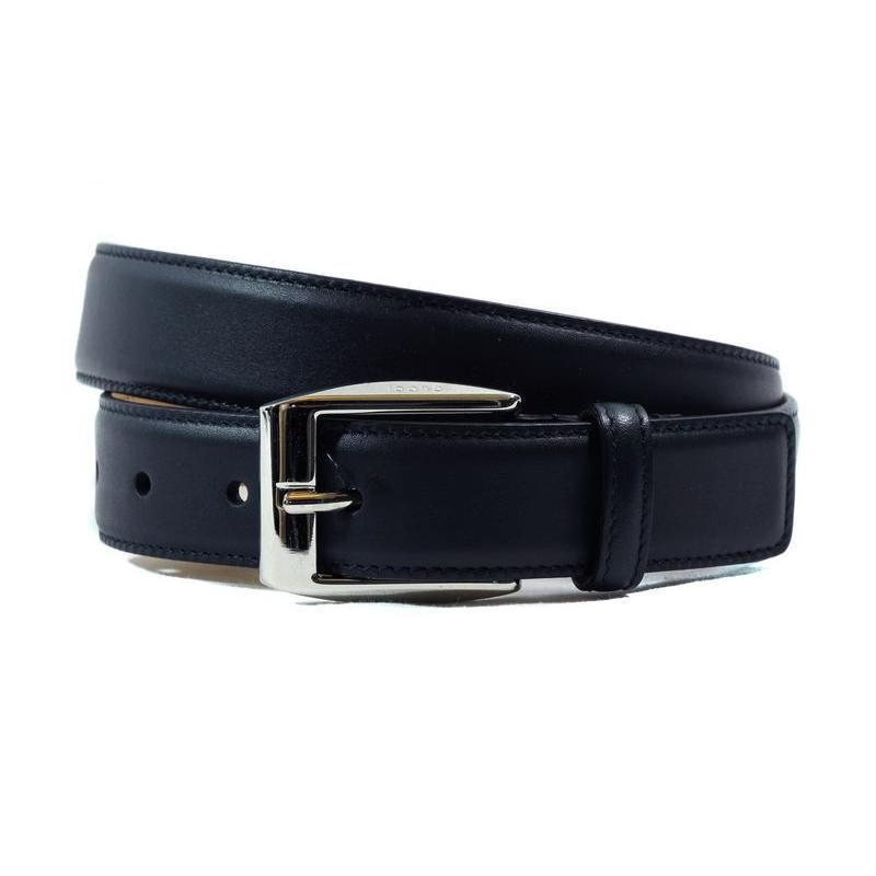 Gucci Men's Smooth Navy Blue Leather Logo Buckle Belt Size 32 336831 Belts Gucci