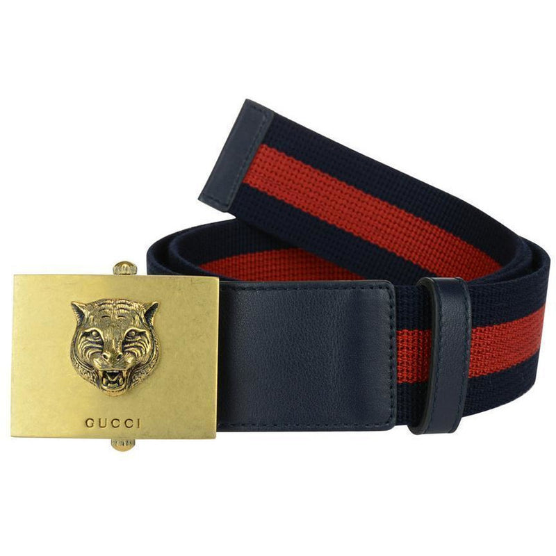 Gucci Men's Web Stripe Lion Buckle Belt 437498 Size: 90/36 Belts Gucci