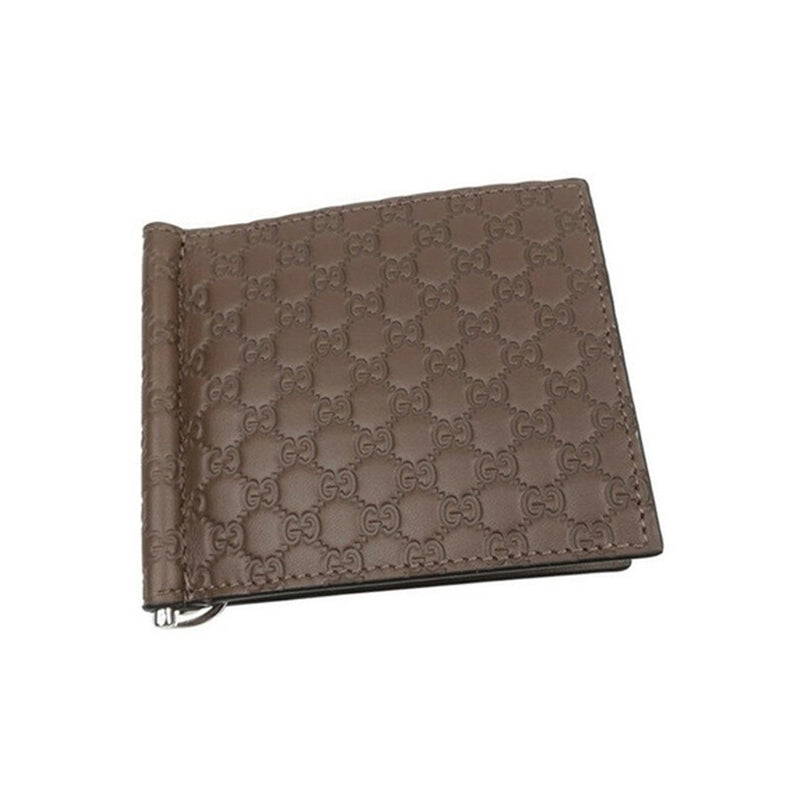 Gucci Mens Womens Microguccissima GG Acero Brown Soft Leather Money Clip Card Case 544478