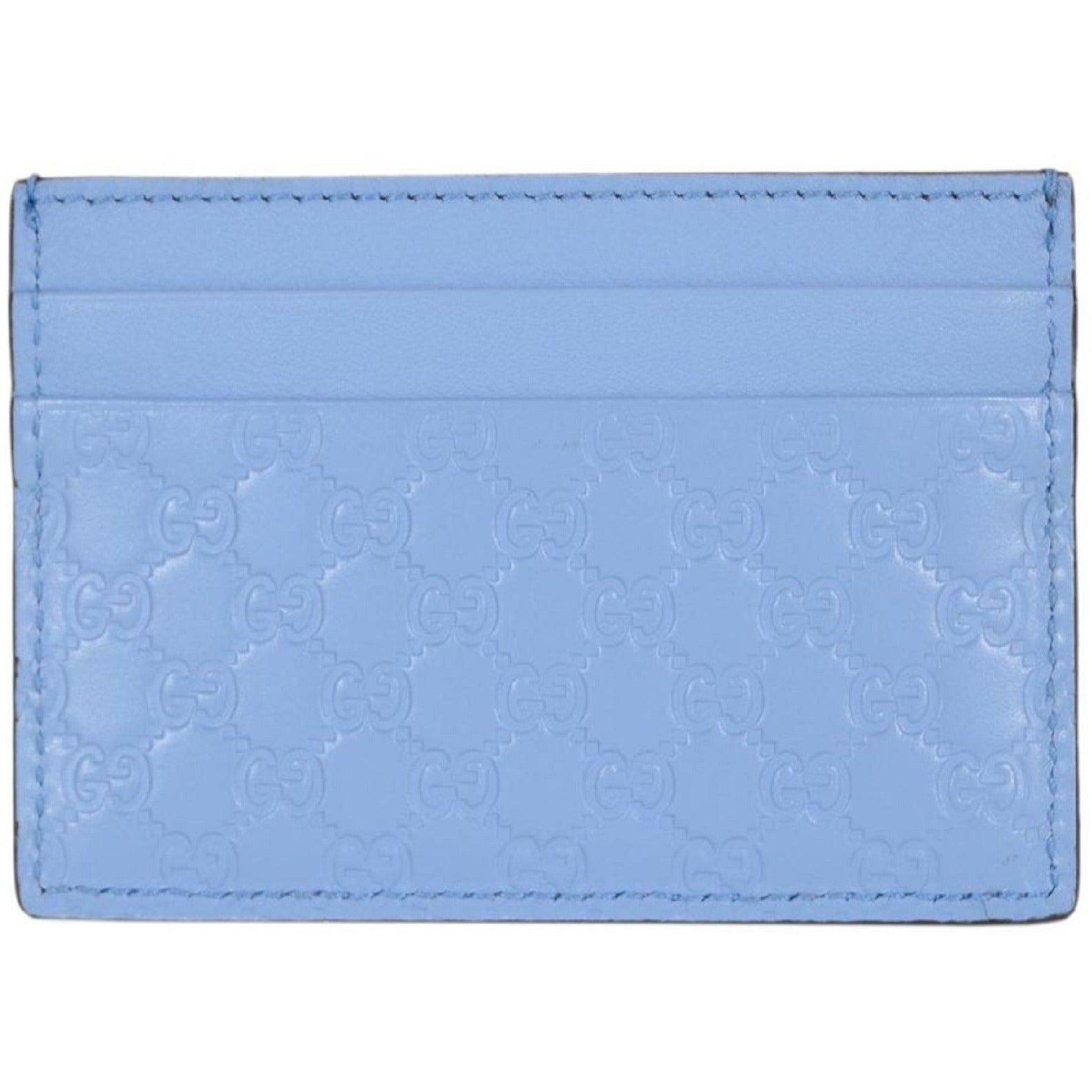 Gucci Microguccissma Mineral Blue Card Holder Leather Wallet 476010 Wallets Gucci