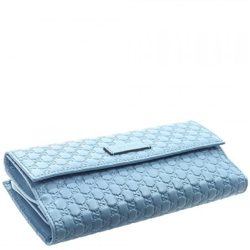 Gucci Microguccissma Mineral Blue Leather Continental Flap Wallet 449393
