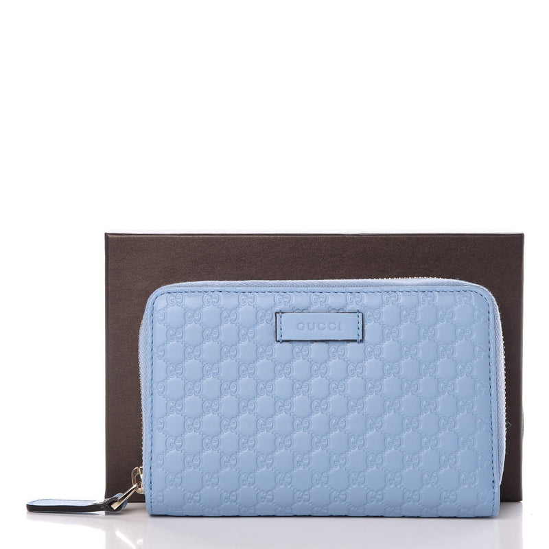 Gucci Mineral Blue Microguccissima Embossed GG Leather Zip Around Wallet 449423