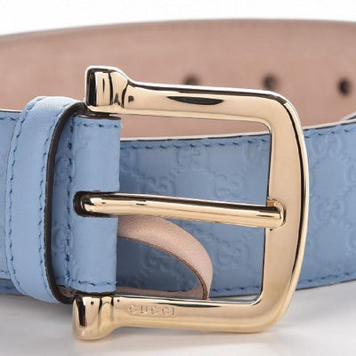 Gucci Mineral Blue Microguccissima GG Soft Margaux Leather Belt 281548 Size 95/38