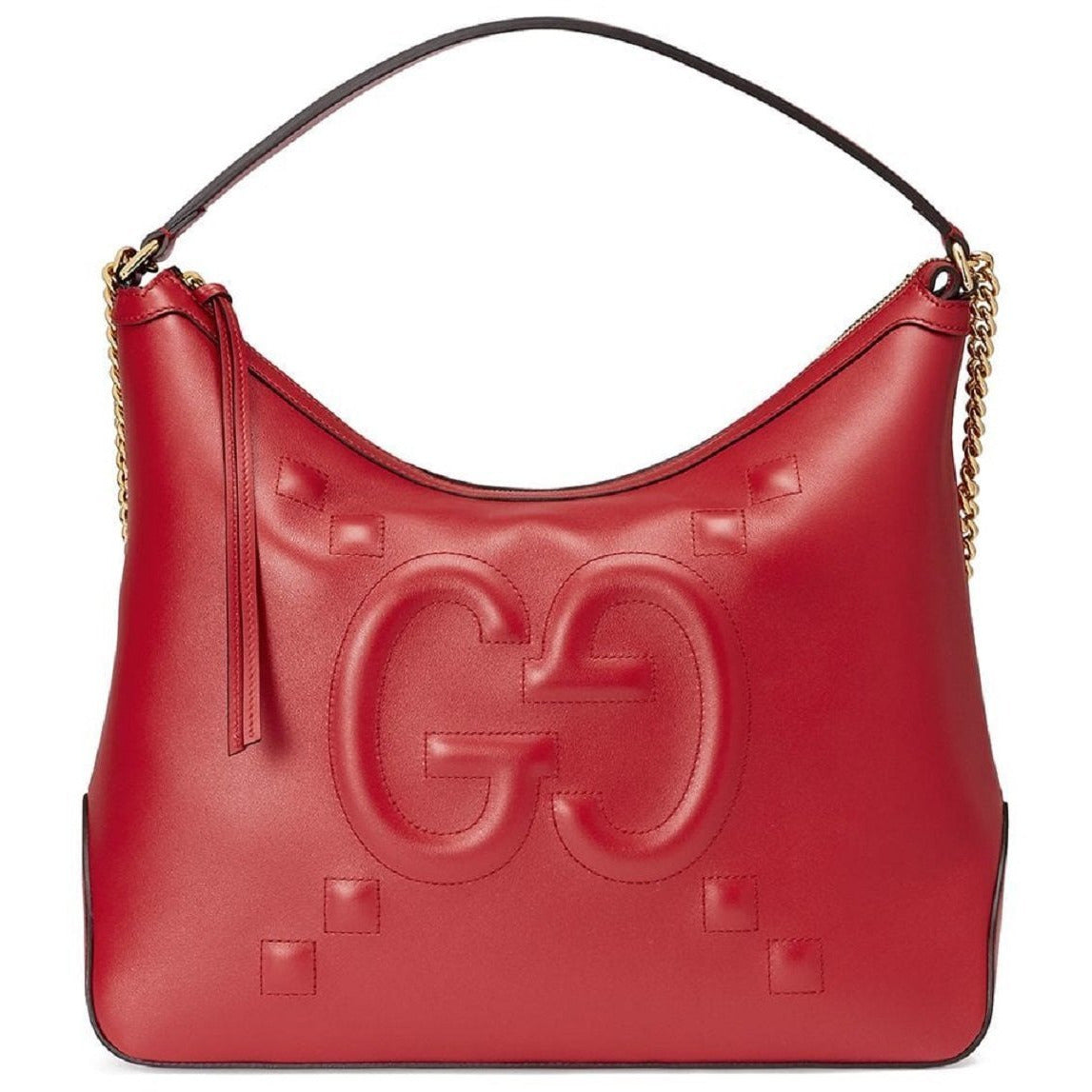 Gucci Red Leather Embossed Dadini Apollo Gold Chain Handbag 474988