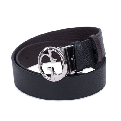 Gucci Reversible Black and Navy leather Belt with Silver Gucci logo Size 38 449715 Belts Gucci