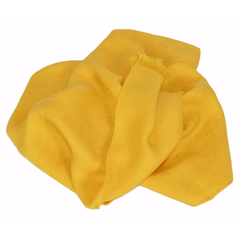 Gucci Womens Sun Yellow GG Logo Wool Silk Guccissima Scarf 165903