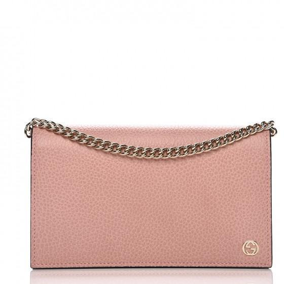 Gucci Soft Pink Dollar Calf Pebbled Leather Wallet Chain Purse Handbag 466506