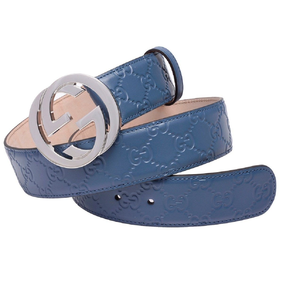 Gucci Unisex Blue Gucci Signature Belt 411924 Size: 100/40
