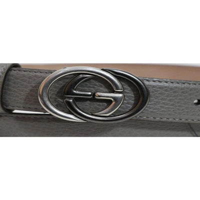 Gucci Unisex GG Gray Leather Belt 295704 Size: 38 Belts Gucci