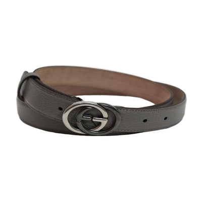 Gucci Unisex GG Gray Leather Belt 295704 Size: 42 Belts Gucci