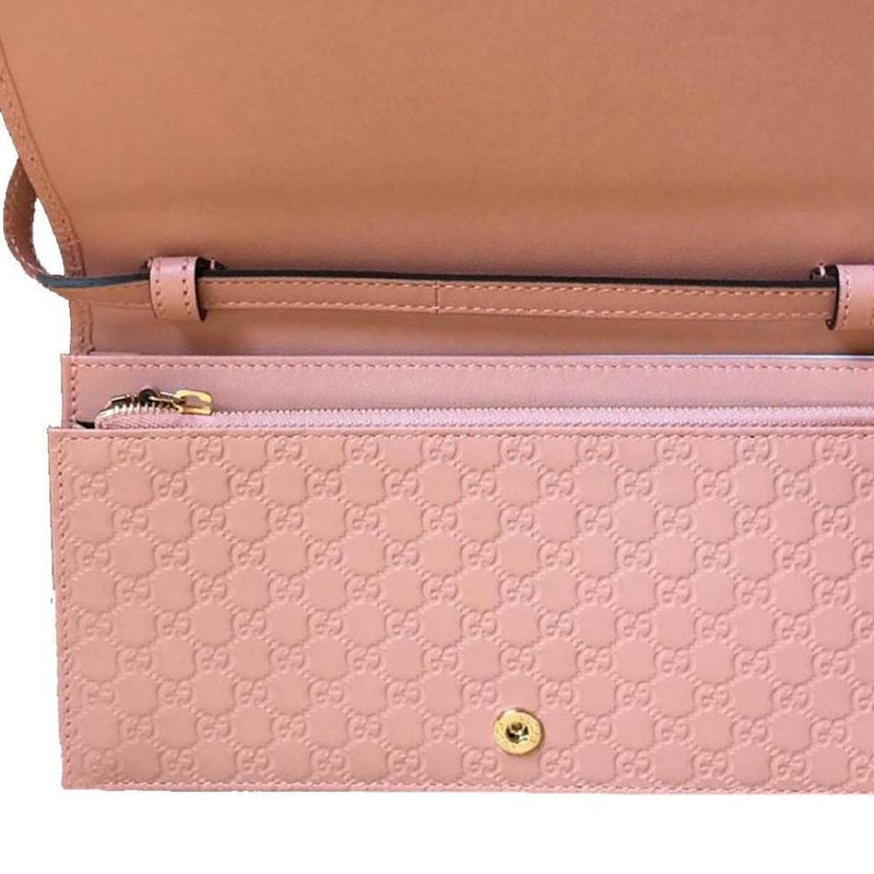 Gucci Wallet Soft Pink Leather Microguccissima Cross Body Wallet Bag 466507