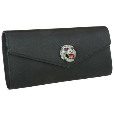 Gucci Women's Broadway Envelope Black Satin Clutch 531874