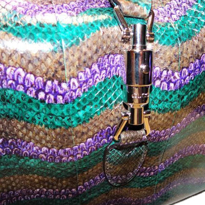 Gucci Women's Classic Jackie Python Purple and Green Hobo Luxury Bag 362968