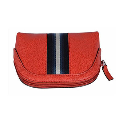 Gucci Women's Classic Web Leather Cosmetic Bag Coral Red Small 339558