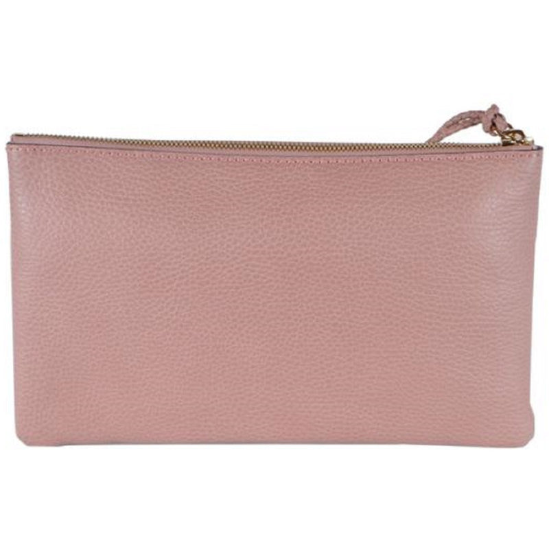 Gucci Women's Dollar Calf Bamboo Detailed Pink Pebbled Leather Clutch 449652