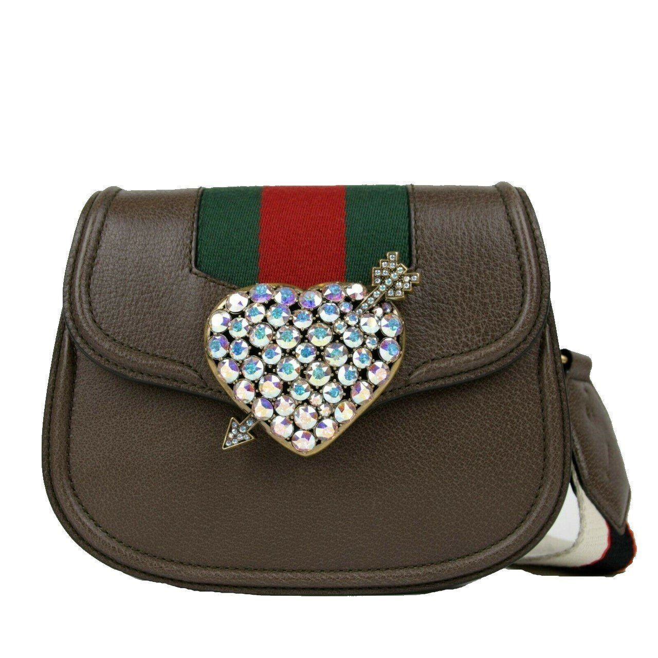 Gucci Women's Jeweled Heart Totem Brown Leather Messenger Cross Body 500756