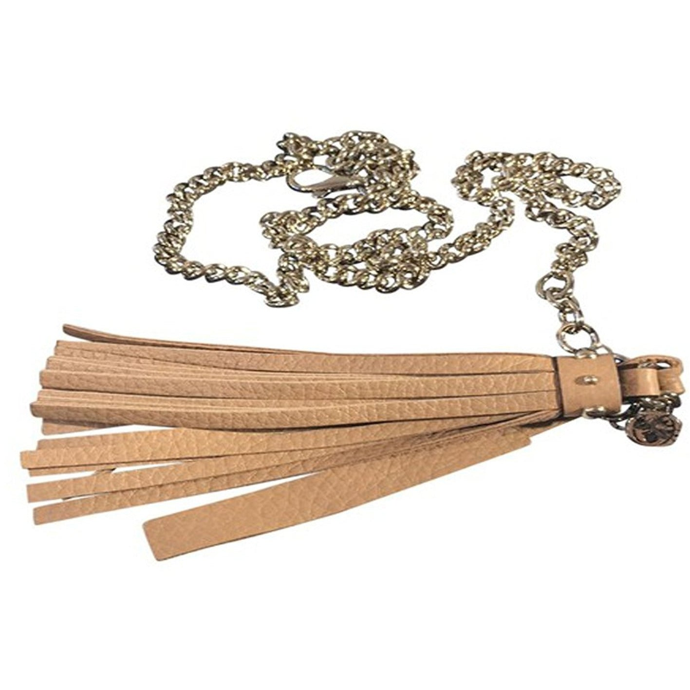 Gucci Women's Leather Tassel Gold Chain Belt  Camelia Beige Size (34) 388992