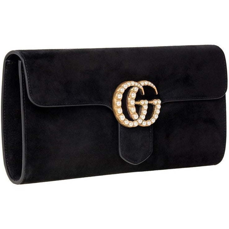Gucci Women's Marmont Black Suede Clutch 455600